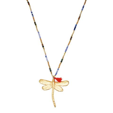 Tassioni Gold / Multi Dragonfly Necklace