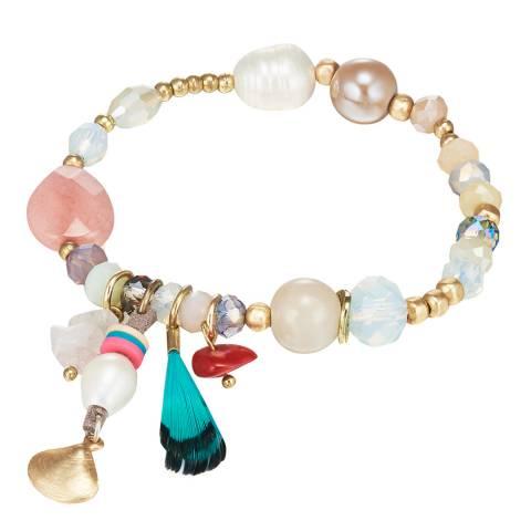 Tassioni Gold Multi Bead Bracelet