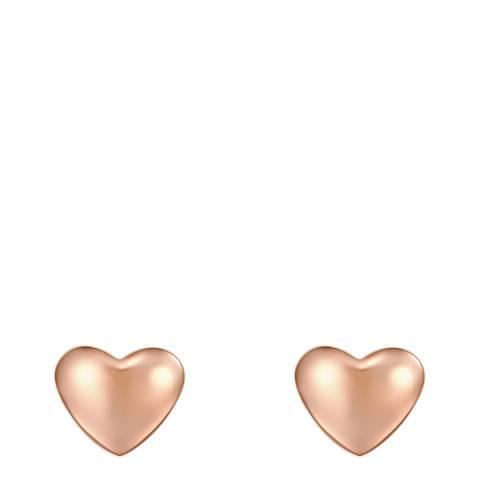 Tassioni Rose Gold Heart Stud Earrings