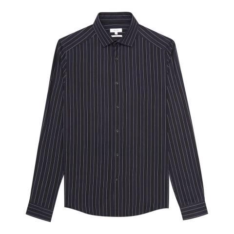 Reiss Navy Ifans Printed Stripe Slim Shirt