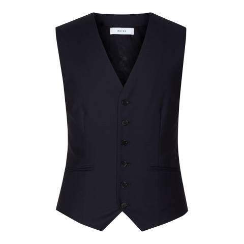 Reiss Navy Harry Modern Wool Waistcoat