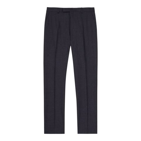 Reiss Navy Denza Slim Silk/Wool Suit Trousers
