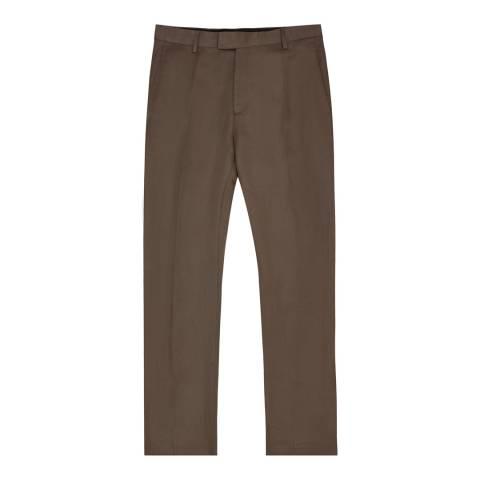Reiss Brown Lounge Slim Wool Suit Trousers