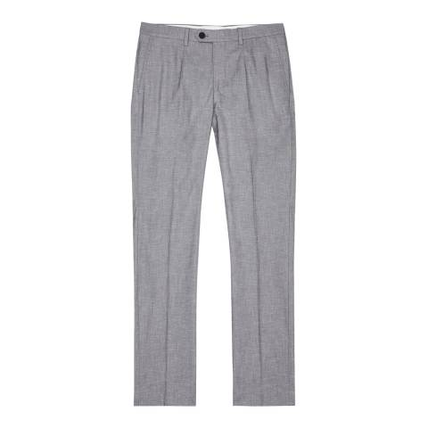 Reiss Grey Den Nep Stretch Cotton Trousers