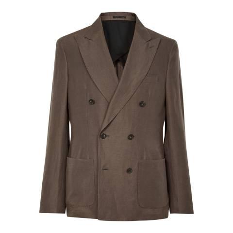 Reiss Brown Lounge Slim Linen Blend Suit Jacket