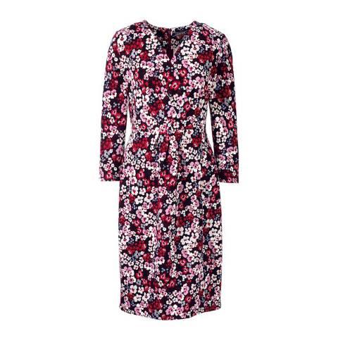 Lands End Wine Red Floral Ponte Jersey Wrap Dress