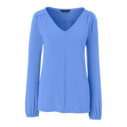 Lands End Blue Charcoal Shirred Shoulder V-Neck Top