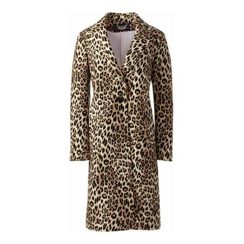 Lands End Leopard Jacquard Coat