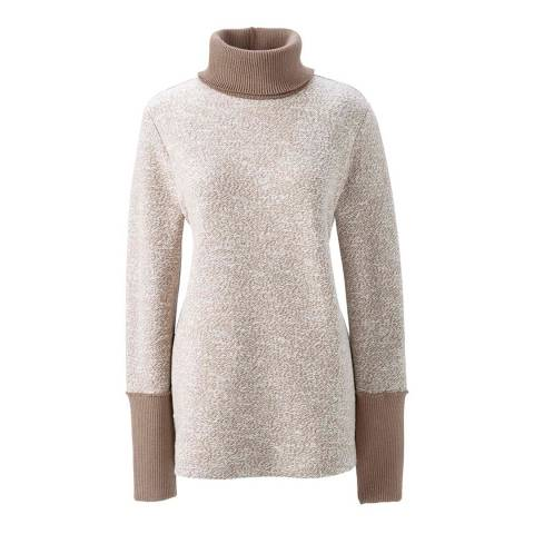 Lands End Taupe/Tan Starfish Marled Roll Neck Jumper