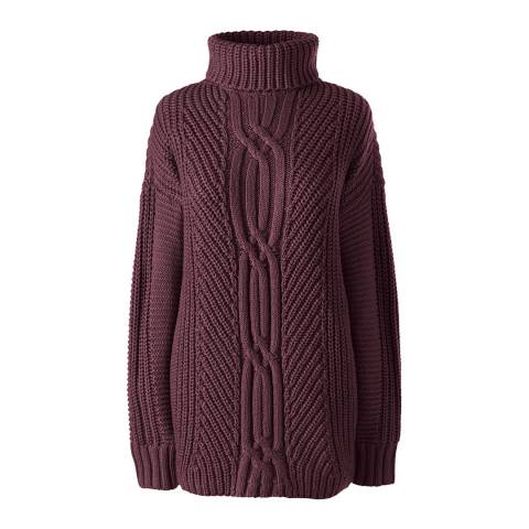 Lands End Burgundy Cable Shaker Roll Neck