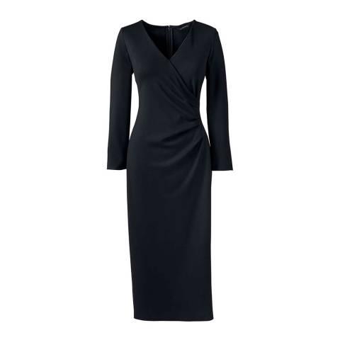 Lands End Black Ponte Jersey Tucked Wrap Dress