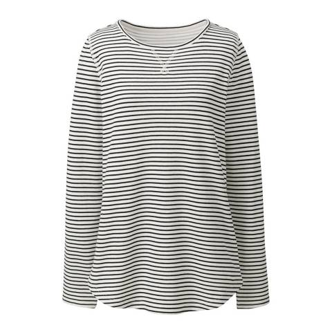 Lands End Ivory Starfish Striped Cotton Blend Top
