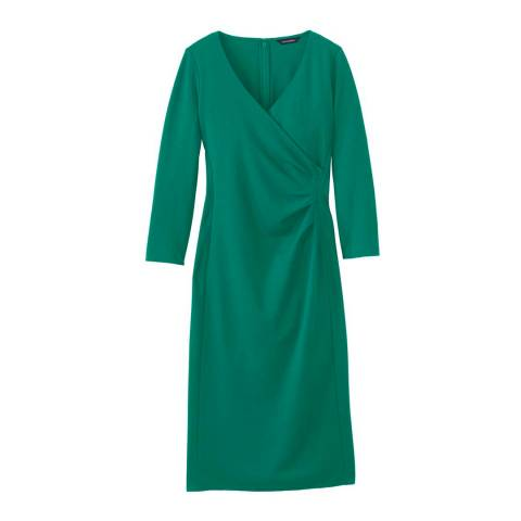 Lands End Green Ponte Jersey Tucked Wrap Dress