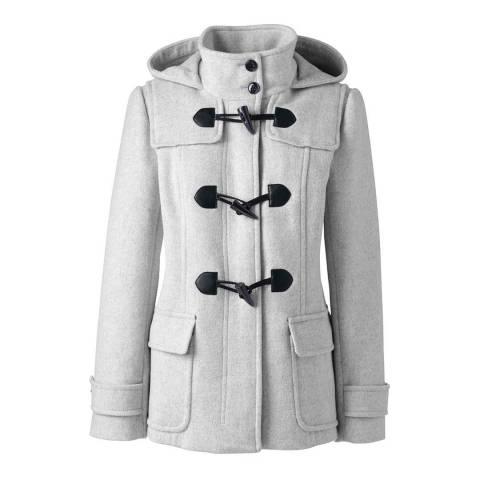 Lands End Light Grey Wool Blend Duffle Coat