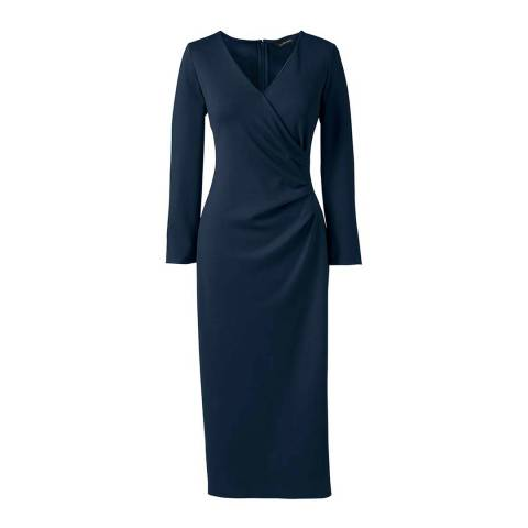Lands End Navy Ponte Jersey Tucked Wrap Dress