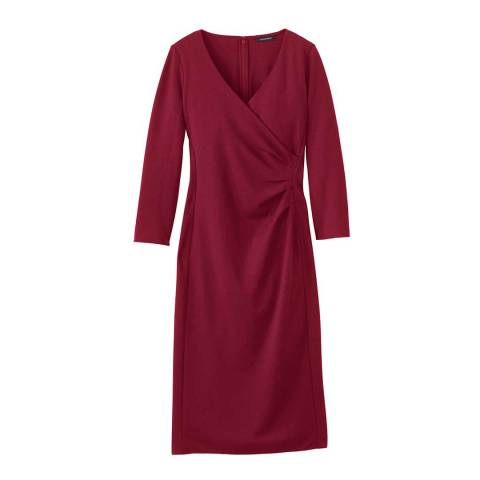 Lands End Burgundy Ponte Jersey Tucked Wrap Dress