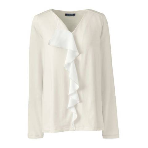 Lands End Ivory Satin Ruffle Front Top