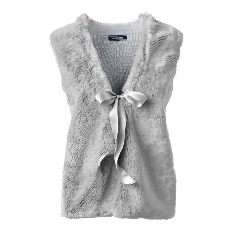 Lands End Light Grey Faux Fur Open Vest