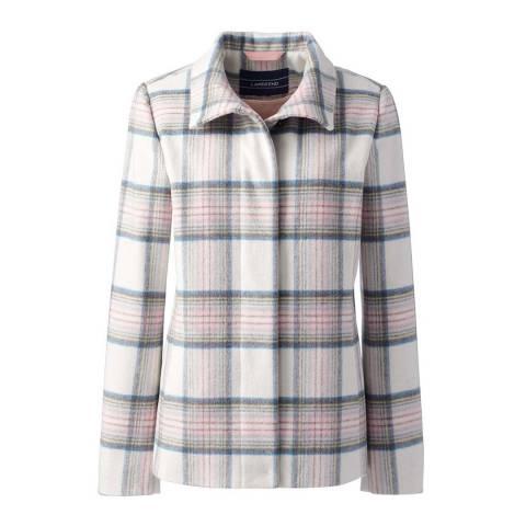 Lands End Ivory Wool Blend Plaid Jacket