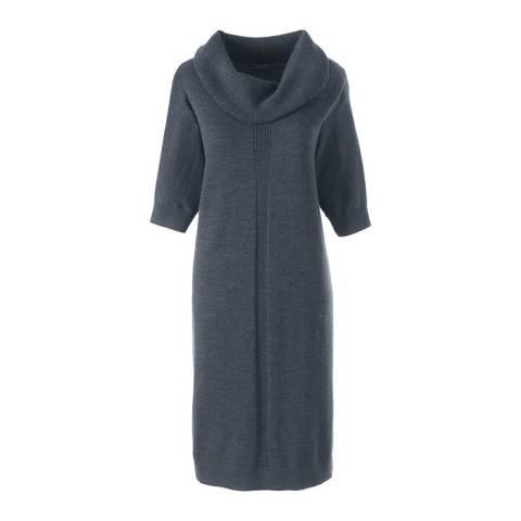 Lands End Charcoal Merino Cowl Collar Dress