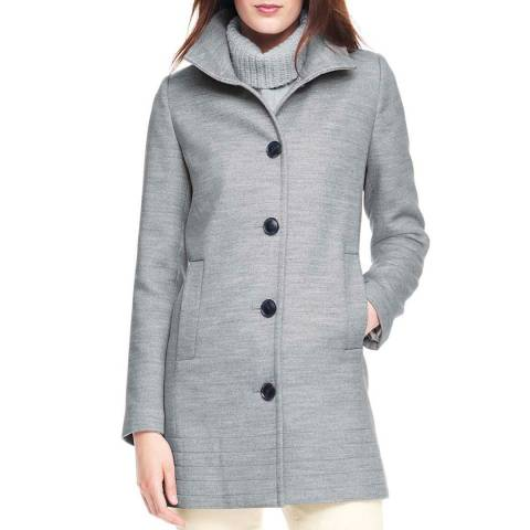 Lands End Grey Heather Stand Collar Coat