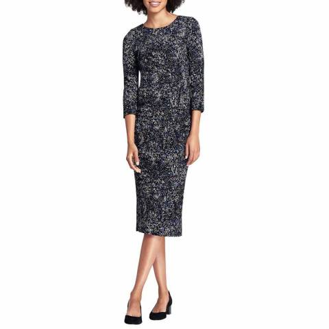 Lands End Black Scatter Dot Pleat Front Ponte Dress