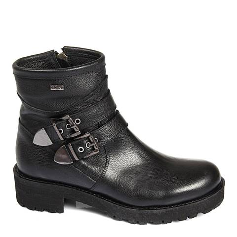 Gön Black Leather Double Buckle Chunky Heel Ankle Boots