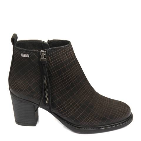 Gön Black Nubuck Patterned Double Zip Heeled Ankle Boots