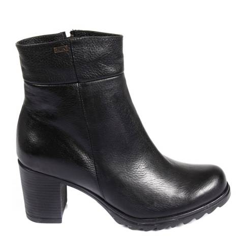 Gön Black Leather Block High Heel Ankle Boots