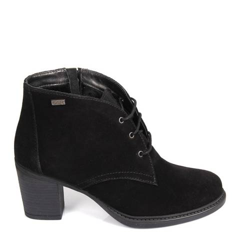 Gön Black Suede Lace Up Heeled Shoe Boots