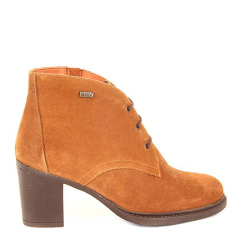Gön Orange Suede Heeled Lace Up Boots