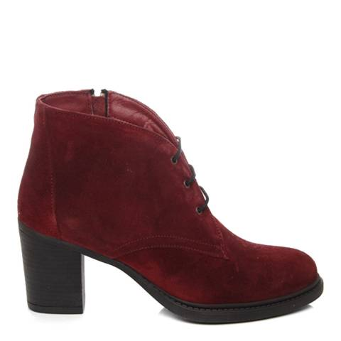 Gön Burgundy Suede Heeled Lace Up Shoe Boots