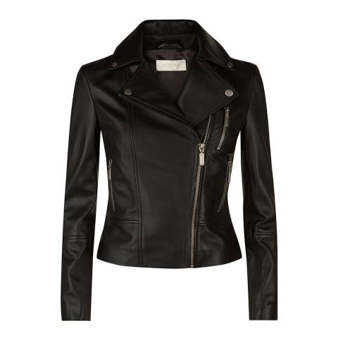 Hobbs London Black Laurelle Leather Biker