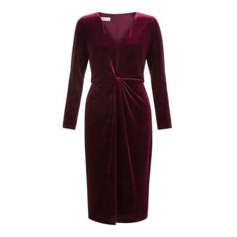 Hobbs London Burgundy Emilia Velvet Dress