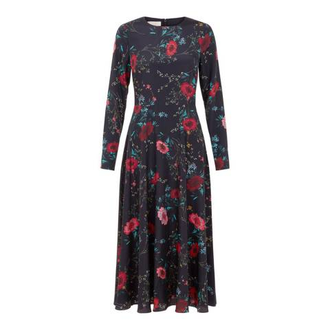 Hobbs London Black Floral Chloe Midi Dress