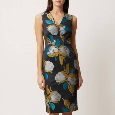 Hobbs London Teal Floral Leah Dress