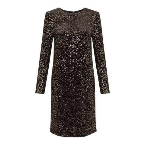 Hobbs London Black/Gold Sequinned Mia Dress