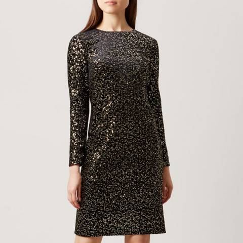 Hobbs London Black/Gold Sequinned Mia Dress