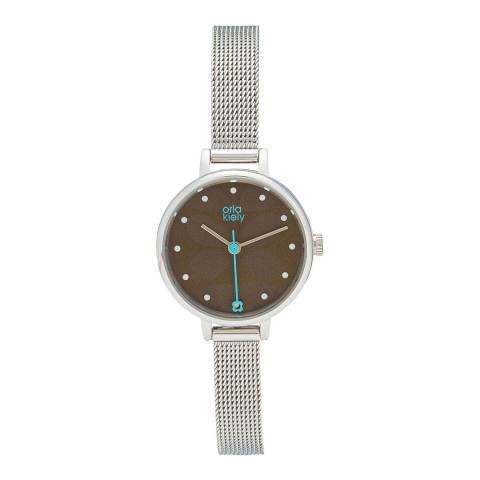 Orla Kiely Ivy Mesh Watch Silver