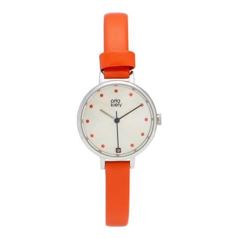 Orla Kiely Orange Ivy Leather Watch