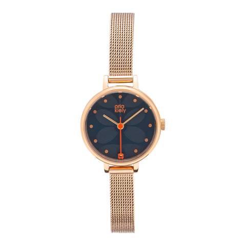 Orla Kiely Ivy Mesh Watch Orange - Navy
