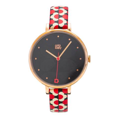 Orla Kiely Ivy Watch Large Gold Case Daisy Printed Strap - 18
