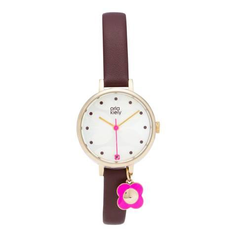 Orla Kiely Ivy Charm Watch Aubergine - Grey Aubergine