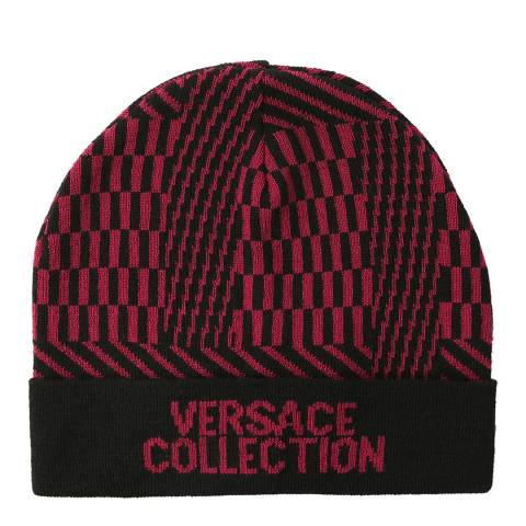 Versace Collection Black/Violet Wool Blend Patterned Beanie