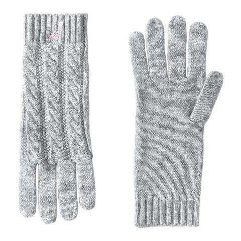 Lands End Classic Grey Heather Cashmere Cable Knit Gloves
