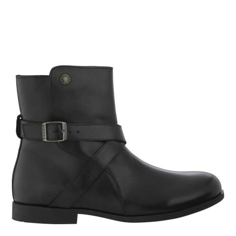 Birkenstock Black Leather Collins Strap Buckle Regular Ankle Boots