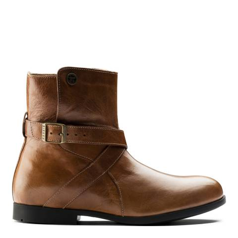 Birkenstock Camel Leather Collins Cross Strap Buckle Ankle Boots