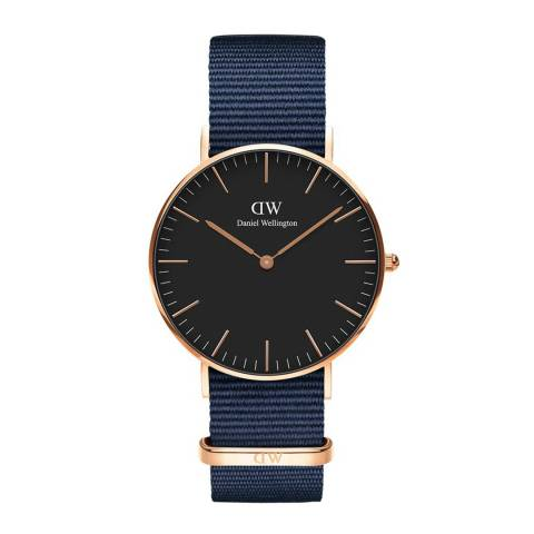 Daniel Wellington Midnight Blue / Black Classic Bayswater Watch 36mm