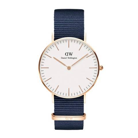 Daniel Wellington Midnight Blue /White Classic Bayswater Watch 36mm