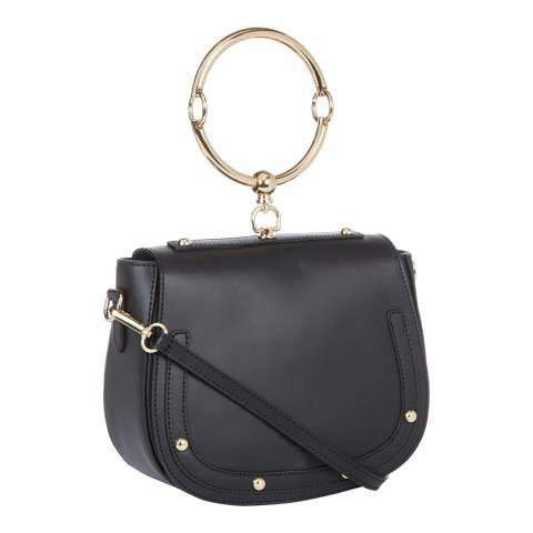 Giulia Massari Black Stud Saddle Top Handle Bag